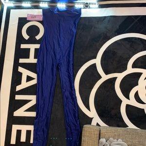 Royal Blue Satin Jumpsuit.